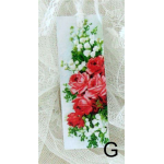 Bokmärke –G: Rosa/röda rosor/liljekonvalj…