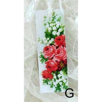 Bokmärke –G: Rosa/röda rosor/liljekonvalj